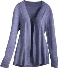 """CABELA'S WOMEN'S FELICITY WRAP SWEATER  Item: 1BH-924691  Perfect grab-and-go sweater that coordinates with everything. Supple 70/30 anti-pilling acrylic/mercerized wool blend. Imported.   Center back length for M: 26"""".  Sizes: S-2XL.   Colors: Raffia, Twilight Purple, Biscay Bay, Charcoal Heather. for me Large - Twilight Purple or Charcoal Heather"""