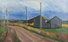 Veikko Vionoja: Kylätie, 1950, öljy, 41x65 cm - Hagelstam A135