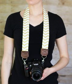 DSLR Camera Strap  Gold Chevron by ImaniStudio on Etsy
