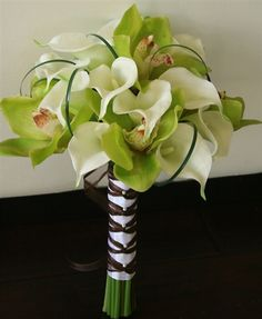 Natural Touch Callas and GREEN Orchids Bouquet