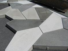 OBN - Bijzonder straatwerk in Het Funen Park, hartje Amsterdam! Landscape Architecture, Landscape Design, Garden Design, Precast Concrete, Concrete Design, Paving Pattern, Paving Ideas, Cement Tiles, Floor Patterns