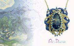 Gorgon handcrafted necklace is like a capricious creature who came fom the magical world of Vincent van Gogh. Kambaba jasper in macrame socket. Sizes: pendant 6