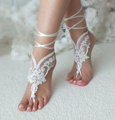 Bands have embellished the ankles of women ever since the daybreak of valuable time, and were much favoured in ancient Egypt and Indian subcontinent. Our collection of ladies anklets. Bridesmaid Sandals, Bridesmaid Gifts, Bridal Shoes, Wedding Shoes, Wedding Lace, Dream Wedding, Wedding Dresses, Barefoot Sandals Wedding, Footless Sandals