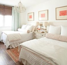 Feminine and airy guest room that sleeps four. Coral and mint, plus a vintage…                                                                                                                                                                                 More