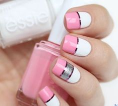 Nail Designs to Try: Color Block Nails ---- Pink, White and Sliver Nails Sliver Nails, Pink White Nails, Pink Nails, White Manicure, Black Nails, Silver Glitter, Silver Color, Pink Color, White Nail Designs