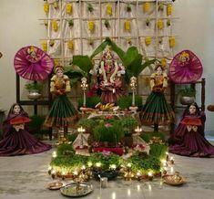 Varalakshmi Vratham 2019 honours the most popular Goddess Maha Lakshmi. Varalakshmi Puja or homam on this day means abundant wealth is sure to come your way. Diwali Decorations, Festival Decorations, Flower Decorations, Halloween Decorations, Table Decorations, Wedding Decorations, Silver Pooja Items, Ganapati Decoration, Pooja Room Design