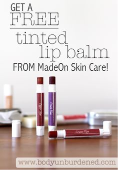 I'm so excited about this! I've been wearing MadeOn's Crimson Rose tinted lip balm daily since I got it a few weeks ago, and now MadeOn is offering each Body Unburdened reader a free tinted lip balm to try for yourself (just pay a few dollars in shipping)! [Natural health, natural beauty and skincare, nontoxic beauty]