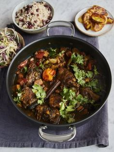Jamie Oliver cooked up this fiery chicken curry for Mel B when she joined him at the pier for Jamie and Jimmy's Friday Night Feast. With rice and peas, fried plantain and slaw, this is a real taste of the Caribbean. Mel B's Jamaican chicken Jamie Oliver, Jamaican Chicken, Chicken Curry, Caribbean Chicken, Caribbean Food, Caribbean Recipes, Jamaican Curry Powder, Friday Night Feast, Ripe Plantain