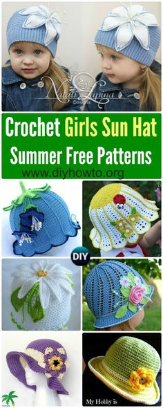 Collection of Crochet Girls Sun Hat Free Patterns & Instructions: Crochet Spring Flower Hat, Crochet Summer Sun Hat, Crochet Cloche Hat via @diyhowto