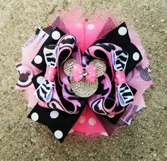 Minnie Mouse pink, black and zebra Bow
