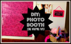 DIY Photo Booth - How simple! A photo booth backdrop made out of wrapping paper.