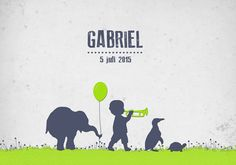 Geboortekaartje Gabriel - Pimpelpluis - https://www.facebook.com/pages/Pimpelpluis/188675421305550?ref=hl (# jongen - dieren - olifant - pinguïn - schildpad - ballon - trompet - silhouet - lief - origineel)