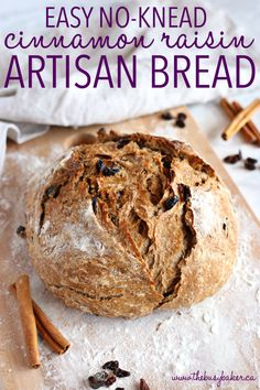 This Easy No Knead Cinnamon Raisin Artisan Bread is crusty on the outside, tender and fluffy on the inside and packed with sweet cinnamon flavour and juicy raisins. And it's SO easy to make this bakery-style loaf at home in your own kitchen! Recipe from t Pain Artisanal, Pain Aux Raisins, Raisin Sec, Dutch Oven Bread, Artisan Bread Recipes, No Knead Bread, Yeast For Bread, Bread Without Yeast, Bread Baking