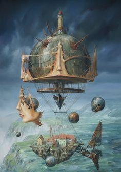 Jarosław Jaśnikowski - here and here Jaroslaw Jasnikowski - a Polish painter and surrealist of the young generation. He was born in 1976 . Surrealism Painting, Pop Surrealism, Surreal Artwork, Magic Realism, Diesel Punk, Visionary Art, Fantastic Art, Art Plastique, Fantasy World