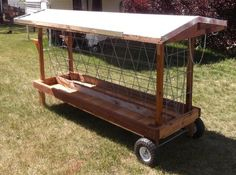 mobile outdoor hay manger for goats.