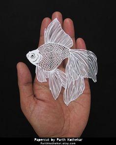 Papercut - Papercutting - Paper art - Gold Fish by ParthKothekar.deviantart.com on @DeviantArt