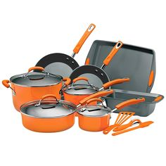 Rachael Ray Porcelain Enamel II Nonstick 15-Piece Cookware Set, Orange -- Check this awesome product by going to the link at the image.