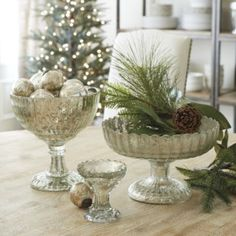 Mercury Glass Pedestal Bowl | Ballard Designs - set on a big wooden kitchen table as center piece