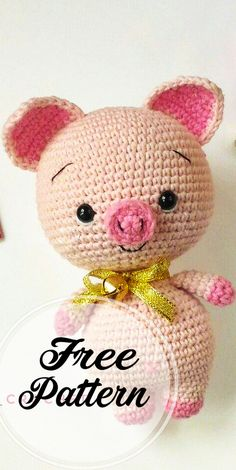 Do you like this cute crochet pig? Right here you can see how to . - Do you like this cute crochet pig? Right here you can see how to make this amigurumi pig. To create - Crochet Mignon, Crochet Pig, Cute Crochet, Crochet Toys, Blog Crochet, Crochet Teddy, Kids Crochet, Amigurumi Patterns, Amigurumi Doll