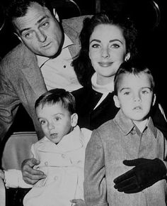 Elizabeth Taylor with third husband Mike Todd and sons Christopher and Michael Wilding Jr.1957