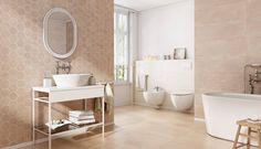 Az Opoczno Arlequini burkolatcsaládjával igazán különleges tereket hozhat létre, hiszen a hatszögletű Mosaic Hexagon névre hallgató elemek nem mindennapi látványát kombinálhatja a hozzá illő hagyományos 29x89 cm vagy a 59,3x59,3 cm-es lapokkal. 😊  #lakberendezés #csempe #burkolat #Opoczno #Arlequini #fürdőszoba #palatinusFürdőszobaszalon Keramik Design, Sink, Bathtub, Mirror, Bathroom, Furniture, Home Decor, Plaster, Inspiration