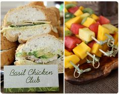 """""""Lion, and Tigers and Bears...Oh My"""" party theme. Chicken basil sandwiches and fruit skewers for lunch."""