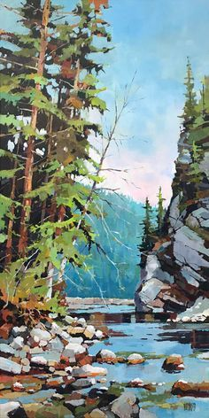 Sun In The Cedars by Randy Hayashi, Acrylic on Canvas, Painting Fantasy Landscape, Landscape Photos, Landscape Art, Landscape Paintings, Forest Landscape, Landscapes, Scenery Paintings, Seascape Paintings, Cool Paintings