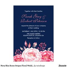 Navy Blue Roses Stripes Floral Wedding Invitation