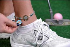 Topaz One Putt Designs Par 3 Golf Ball Marker Ankle Bracelet - find the best golf accessories at #lorisgolfshoppe