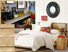 Natural Tree Stump Side Table - West Elm & Butterflies, Drift Wood and Moss - Bliss Home & Design Store