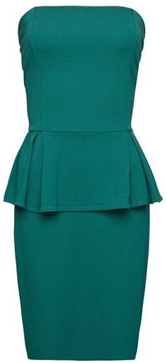 Mango Strapless Peplum Dress in (jade)