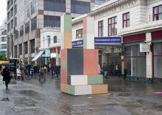 Pastel-coloured totems created to signpost Clerkenwell Design Week.