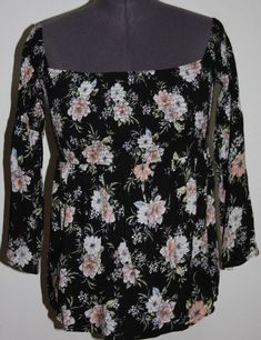 5ae992c1d5e Plus Size Tops · NWT Torrid 2   2X   18 20 Black Floral Smocked Off the  Shoulder Shirt