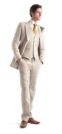 2017 Latest Coat Pant Designs Beige Linen Wedding Suits For Men Tuxedo  Terno Slim Fit 3 Piece Groom Suit Custom Blazer Masculino. Robert s · Trajes  De Boda ... 75a2d39d141