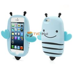 3D Flying Little Honey Bee Silicone Case Cover for iPhone 5 - Blue