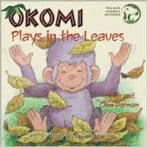 Dorman, Okomi plays in the leaves, chimpanzees, animals, leaves, fall, playing