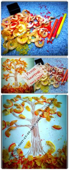 Create a beautiful fall craft with PENCIL SHAVINGS!