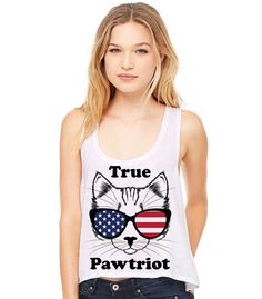 True Pawtriot Cropped Tank Top in White