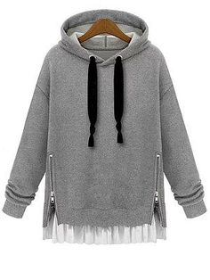 Buy Plain Hooded Sweatshirt Dress Side Zip Patchwork Clothes Lace Up Drawstring Hoodie Poleron Mujer 2019 Tunic Long Sleeve Women - grey hoodie - and Find more Women's Hoodies & Sweatshirts enjoy up to off. Hoodie Sweatshirts, Sweatshirts Online, Zip Hoodie, Fashion Sweatshirts, Hoody, Plus Size Pullover, Plus Size Hoodies, Mode Shoes, Mode Jeans