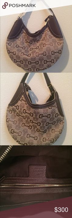 Authentic Gucci Hobo Handbag Fabric material with Gucci logo print lined with real brown leather trimming. It features gold hardware with Gucci logo as well. The purse has been gently worn. It has no perfume smells at all. It had a small stain from a chocolate piece of candy but it was cleaned off. It has no rips or tears inside or outside. The purse is kept in the satchel coverslip it was originally purchased in. Gucci Bags Hobos