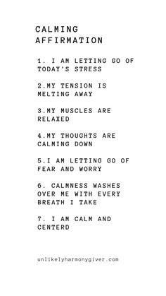 Our list of calming affirmations to help you relax. Perfect for the evenings bef. - Our list of calming affirmations to help you relax. Perfect for the evenings bef… Our list of c - Daily Positive Affirmations, Positive Affirmations Quotes, Affirmation Quotes, Healing Affirmations, List Of Affirmations, Positive Quotes Anxiety, Being Positive, Mantras For Positive Energy, Feelings