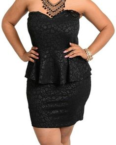 Peplum Plus Size Dress Sexy Strapless Cocktail Dress Floral Print Black Dress