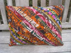 "Grunge Print - Decorative Batik Throw Pillow Cover 12"" x 16"" - Our Talking Hands - Supporting the Deaf in Ghana. $20.00, via Etsy."