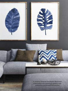 Something Blue Palm Leaves Clipart Banana Palm Painting, Philodendron Tropical Monstera Denim Home Decor Minimalist Abstract Paper Art Print Handmade Home Decor, Unique Home Decor, Leaf Clipart, Abstract Paper, Canvas Wall Decor, Canvas Art, Boho Home, Painted Leaves, Home Decor Pictures