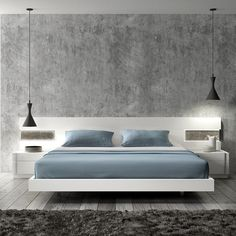 really sleek. I like the hanging lights. Has built in nightstands with the floating bed.