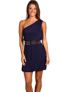 Laundry by Shelli Segal One Shoulder Slinky Dress w/ Studs (6pm.com)