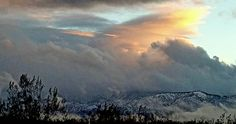 Snow covered hills in Angeles National Forest