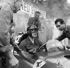 British racing driver Mike Hawthorn in his Ferrari during practice for the 1957 Monaco Grand Prix. A massive crash at the exit of the tunnel on the first lap of the race took out Hawthorn's Ferrari, and Juan Manuel Fangio powered His Maserati to victory. Ferrari Racing, Ferrari F1, F1 Racing, Racing Team, Ferrari Mondial, Formula 1, Abu Dhabi, Shanghai, Aryton Senna