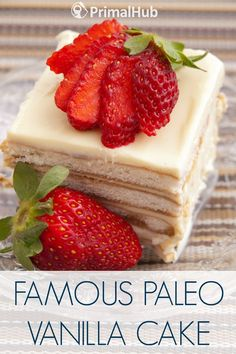 """Famous Paleo Vanilla Cake Greatly disappointed this was NOT moist. Picture must be the recipe The filling made to specks wasn't even the same color. Made 2 """"cakes"""" super dense & about thick. Paleo Dessert, Healthy Desserts, Delicious Desserts, Dessert Recipes, Paleo Desert Recipes, Whole Food Recipes, Paleo Cake Recipes, Muffins, Fudge"""