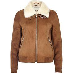 Tan faux fur lined bomber jacket £75.00